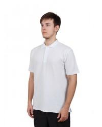 Футболка поло мужская с коротким рукавом (Белый) ткань пл. 180 г/м²