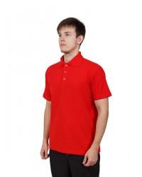 Футболка поло мужская с коротким рукавом (Красный) ткань пл. 180 г/м²