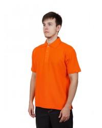 Футболка поло мужская с коротким рукавом (Оранжевый) ткань пл. 180 г/м²