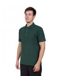 Футболка поло мужская с коротким рукавом (Темно-Зеленый) ткань пл. 180 г/м²