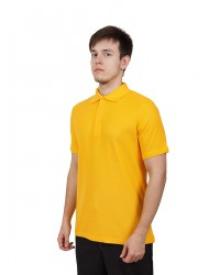 Футболка поло мужская с коротким рукавом (Желтый) ткань пл. 180 г/м²