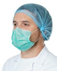 Маска медицинская трехслойная на резинках c фиксатором
