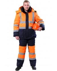 Костюм зимний СИГНАЛ (тк.Смесовая,210) брюки, цв. оранжевый/т.синий